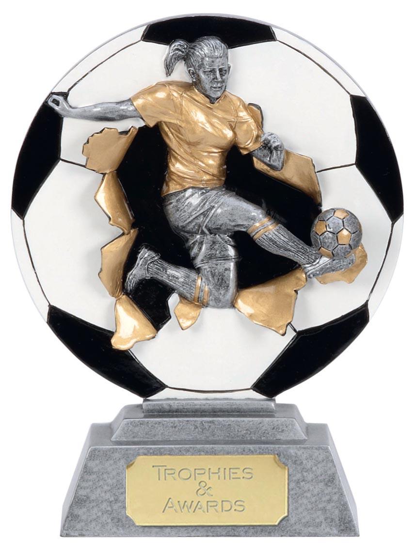 "Silver X-Plode Female Football Trophy 15cm (6"")"