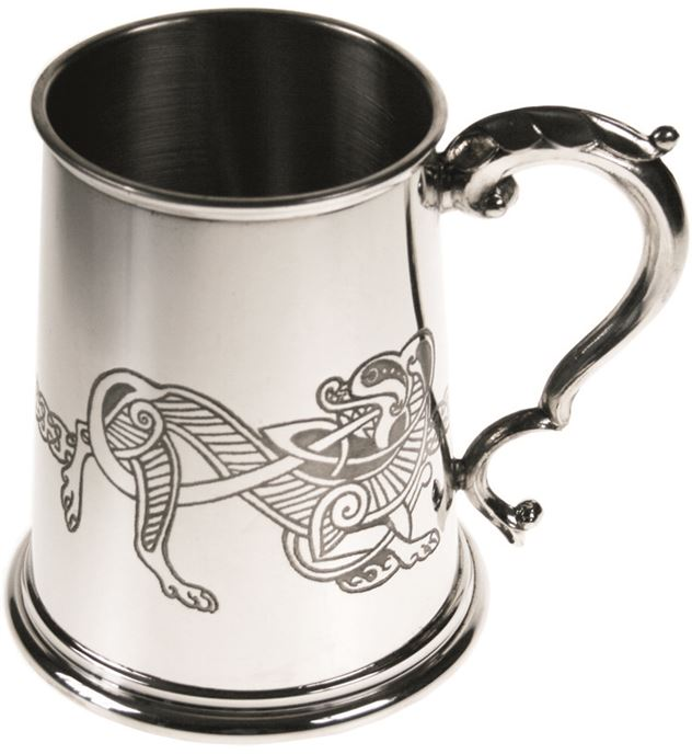"1pt Celtic Lion Embossed Sheffield Pewter Tankard 11.5cm (4.5"")"