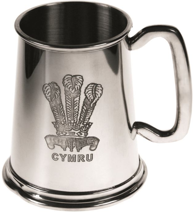 """Welsh Feathers Embossed 1pt Sheffield Pewter Tankard 11.5cm (4.5"""")"""
