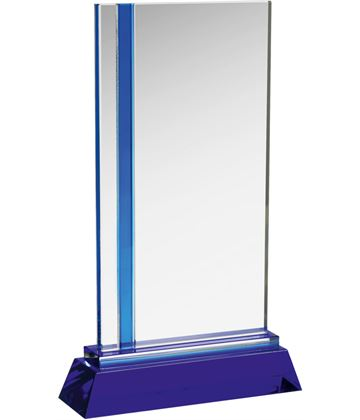 "Blue & Clear Optical Crystal Plaque Award 25cm (9.75"")"