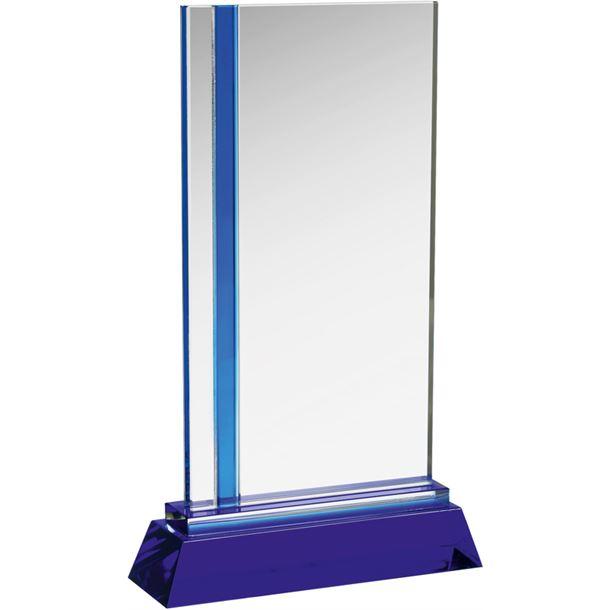 """Blue & Clear Optical Crystal Plaque Award 28cm (11"""")"""