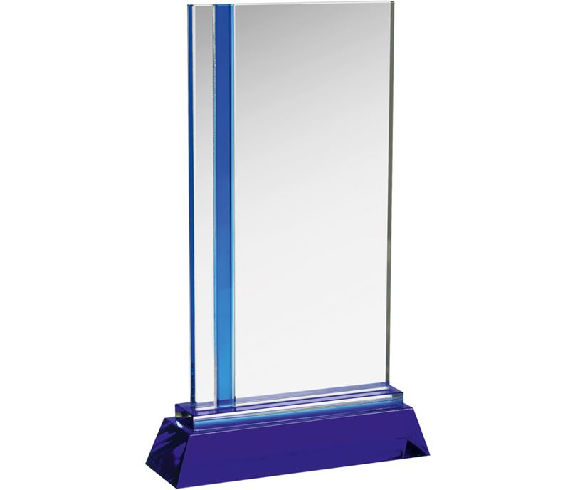 "Blue & Clear Optical Crystal Plaque Award 21.5cm (8.5"")"