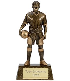 "Antique Gold Trimmed Resin Football Player Trophy 24cm (9.5"")"
