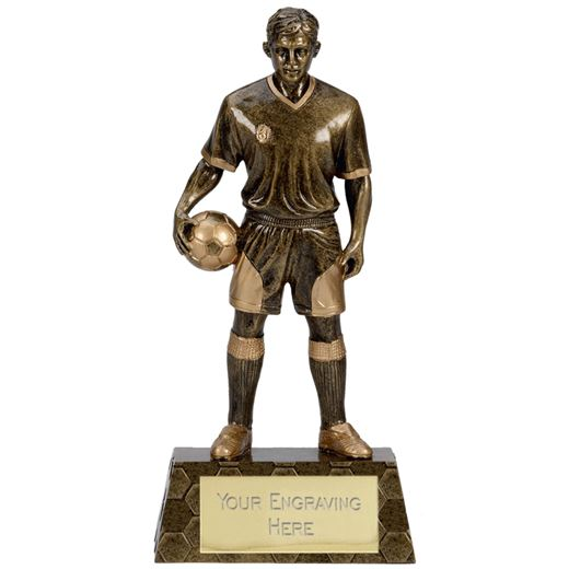 """Antique Gold Trimmed Resin Football Player Trophy 22cm (8.75"""")"""