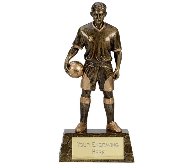 "Antique Gold Trimmed Resin Football Player Trophy 26.5cm (10.5"")"