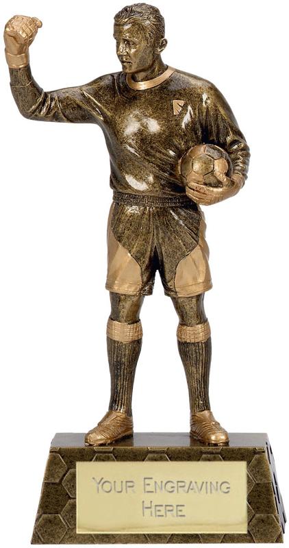 "Gold Trimmed Football Goalkeeper Trophy 22cm (8.75"")"