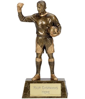 "Gold Trimmed Football Goalkeeper Trophy 22cm (8.75"")"