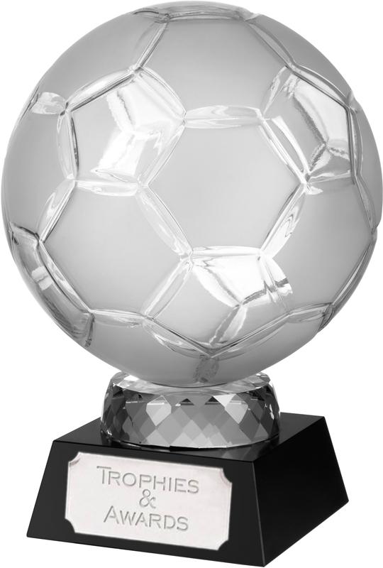 "Large Crystal Football Award on Black Base 16.5cm (6.5"")"