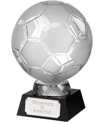 "Large Crystal Football Award on Black Base 16.5cm (6.5"")"