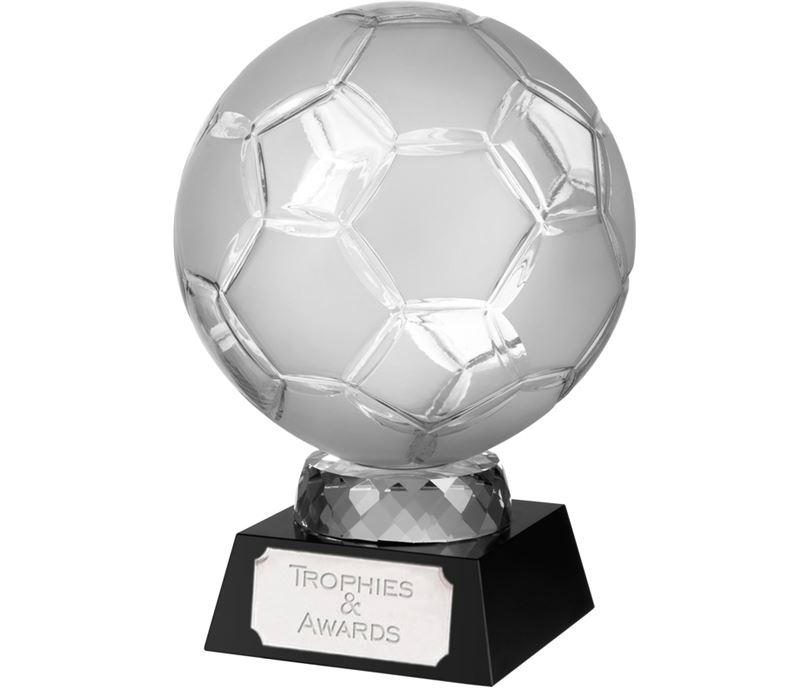 "Large Crystal Football Award on Black Base 24cm (9.5"")"
