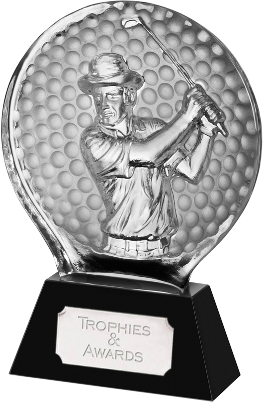 "Black & Clear Optical Crystal 2D Golfer Award 14cm (5.5"")"