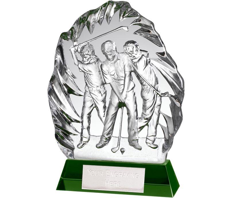 "Optical Crystal Golf Swing Stage Iceberg Award 22cm (8.75"")"