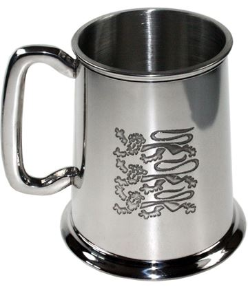 "Three Lions Embossed 1pt Sheffield Pewter Tankard 11.5cm (4.5"")"