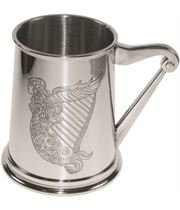 "Irish Harp Embossed 1pt Sheffield Pewter Tankard 11.5cm (4.5"")"