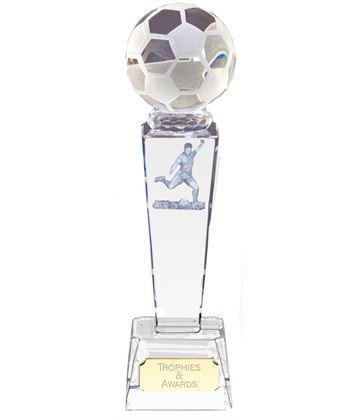 "Optical Crystal Footballer & Ball Award 18cm (7"")"