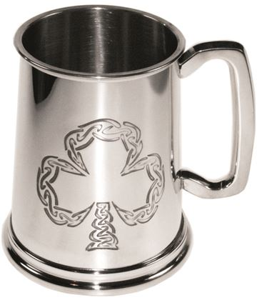 "Celtic Shamrock Embossed 1pt Sheffield Pewter Tankard 11.5cm (4.5"")"