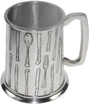 """Cutlery Patterned 1pt Sheffield Pewter Tankard 11.5cm (4.5"""")"""