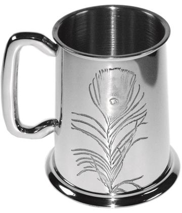 "Peacock Feather Embossed 1pt Sheffield Pewter Tankard 11.5cm (4.5"")"