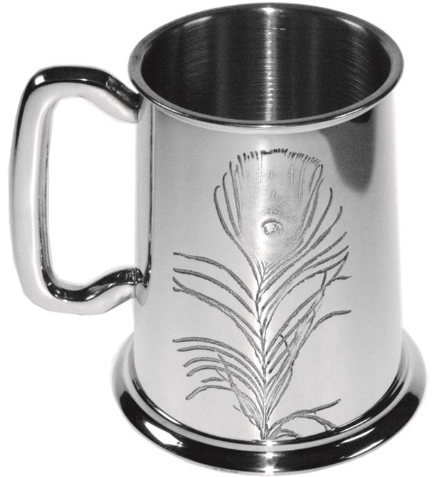 """Peacock Feather Embossed 1pt Sheffield Pewter Tankard 11.5cm (4.5"""")"""