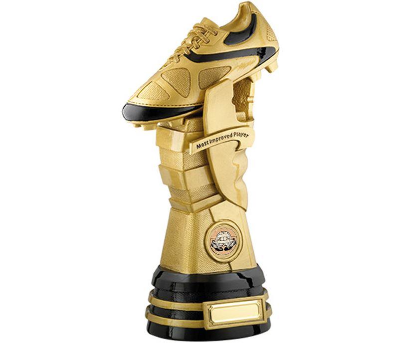 "Gold & Black Lynx Football Boot Player Award Trophy 28cm (11"")"