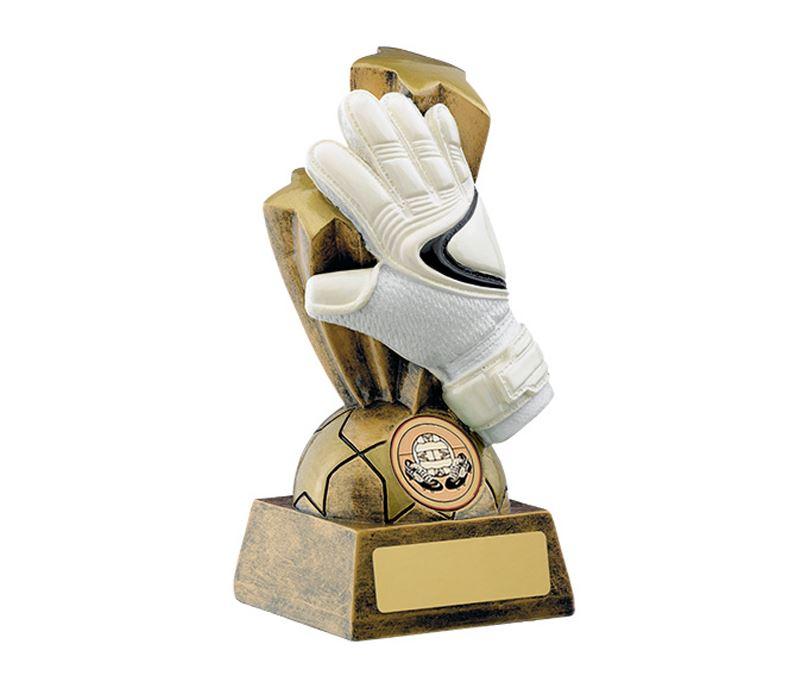 "Gold & White Football Goalkeeper Glove Trophy 14cm (5.5"")"