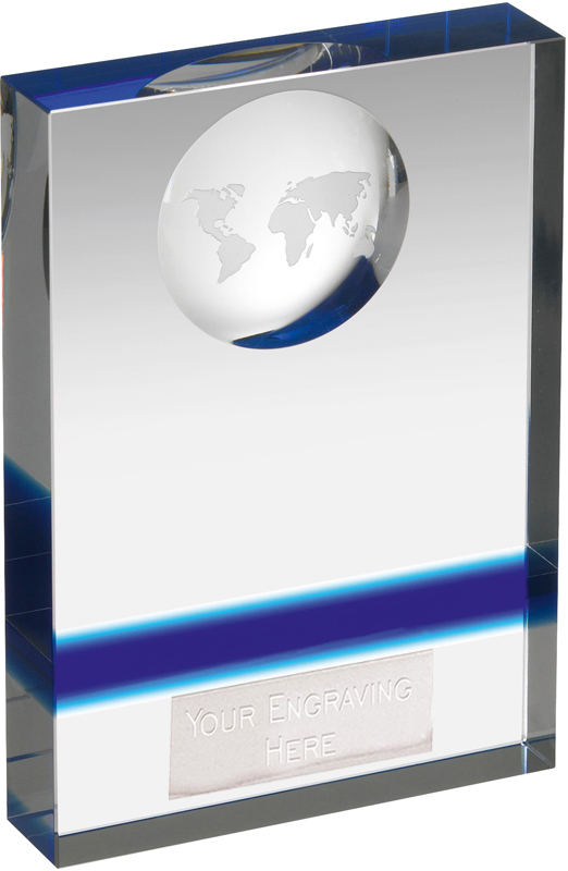 "Blue & Clear Crystal Globe Plaque Award 14.5cm (5.75"")"