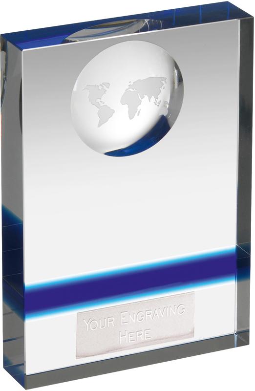 "Blue & Clear Crystal Globe Plaque Award 14.5cm (5.75"")"