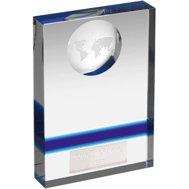 "Blue & Clear Crystal Globe Plaque Award 12.5cm (5"")"