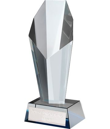 "Blue & Clear Crystal Towering Obelisk Award 21.5cm (8.5"")"