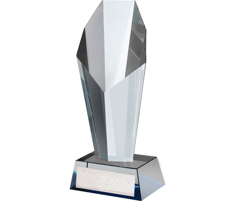 "Blue & Clear Crystal Towering Obelisk Award 23.5cm (9.25"")"