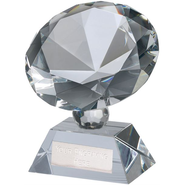 "Optical Crystal Diamond Glass Award 9cm (3.5"")"