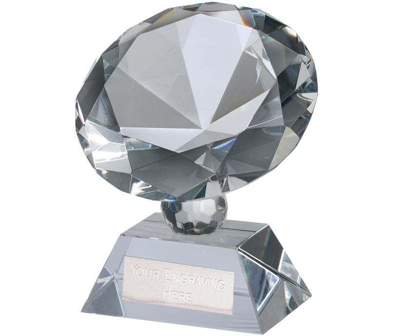 "Optical Crystal Diamond Glass Award 9cm (3.5"")"