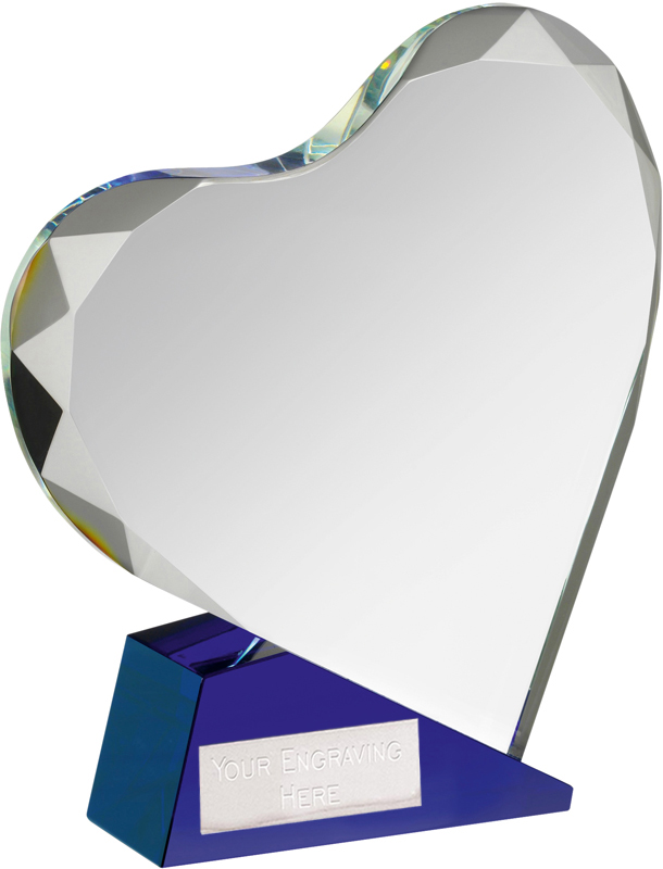 "Blue & Clear Optical Crystal Heart Award 13.5cm (5.25"")"