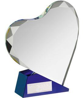 """Blue & Clear Optical Crystal Heart Award 18cm (7"""")"""