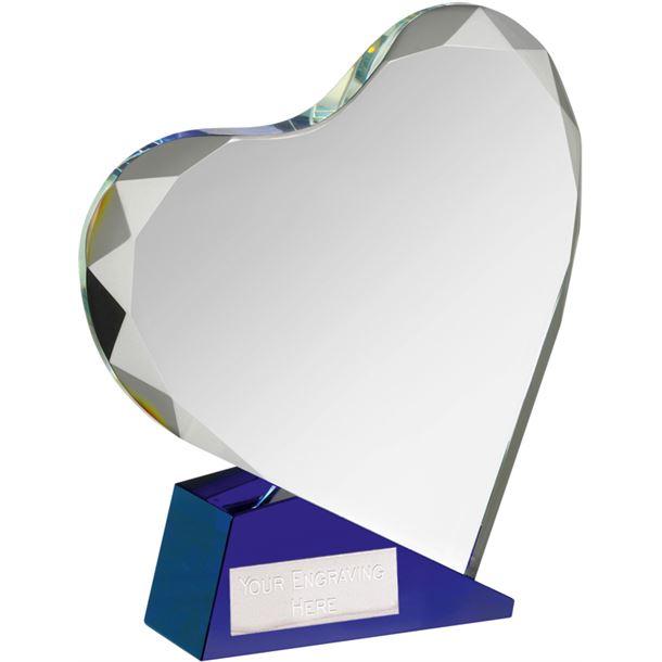 """Blue & Clear Optical Crystal Heart Award 15cm (6"""")"""