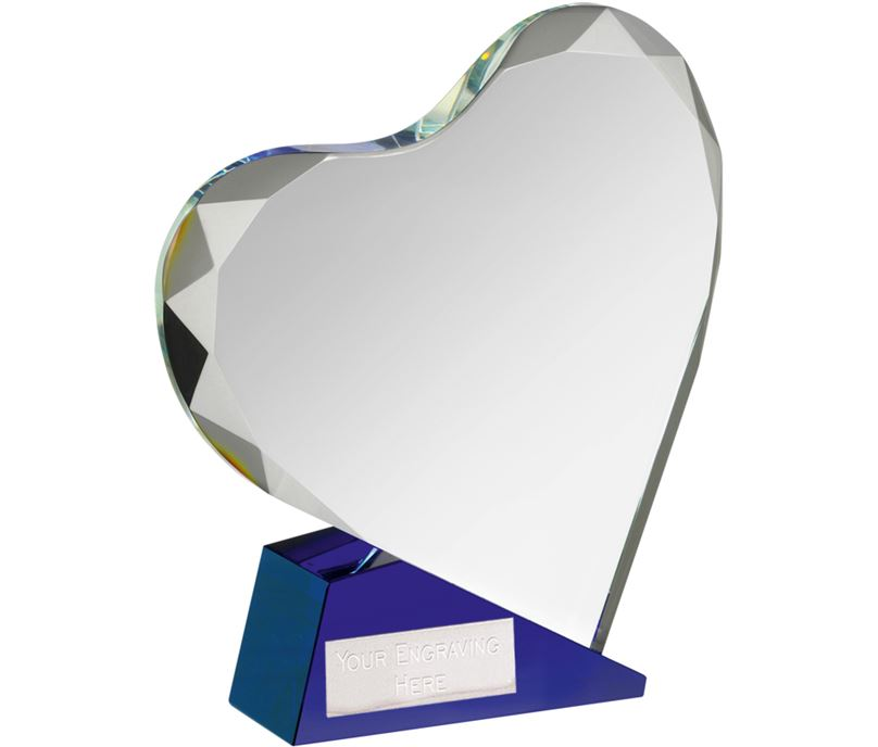 "Blue & Clear Optical Crystal Heart Award 15cm (6"")"