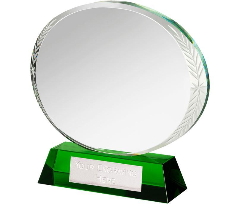 """Green & Clear Optical Crystal Oval Award 16cm (6.25"""")"""