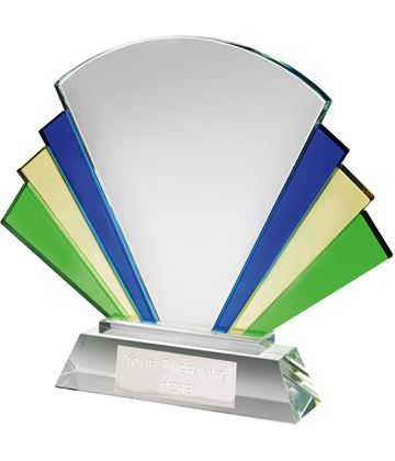 "Multi Coloured Optical Crystal Fan Award 20.5cm (8"")"