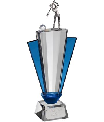 "Clear & Blue Crystal Fan Golf Award 30cm (11.75"")"