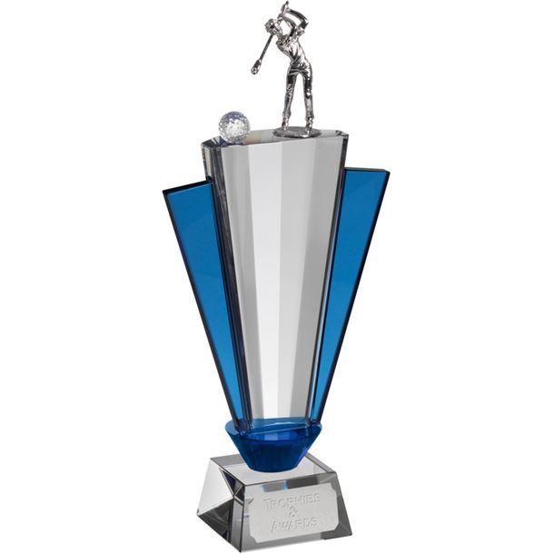 """Clear & Blue Crystal Fan Golf Award 28.5cm (11.25"""")"""