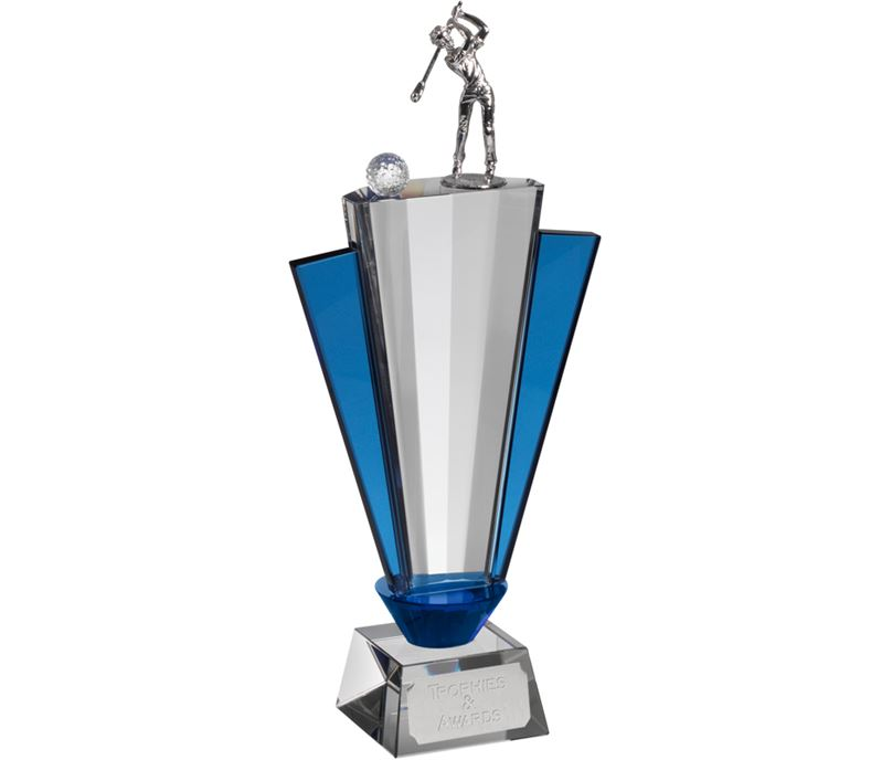 """Clear & Blue Crystal Fan Golf Award 32.5cm (12.75"""")"""