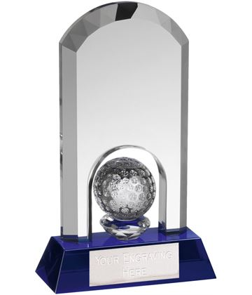 "Clear & Blue Crystal Arch Golf Award 14.5cm (5.75"")"