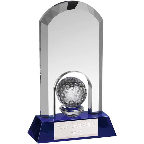 """Clear & Blue Crystal Arch Golf Award 18.5cm (7.25"""")"""