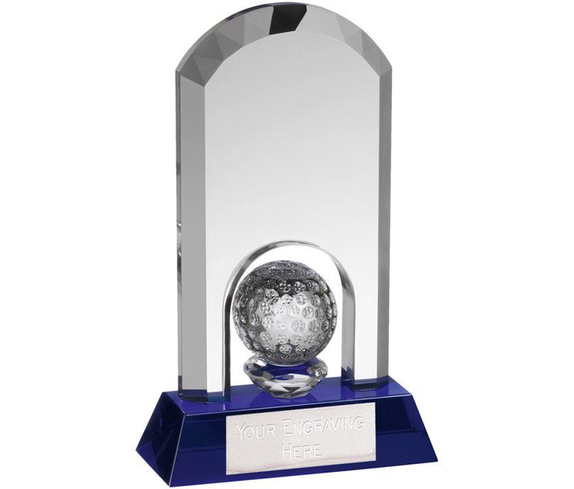 """Clear & Blue Crystal Arch Golf Award 14.5cm (5.75"""")"""