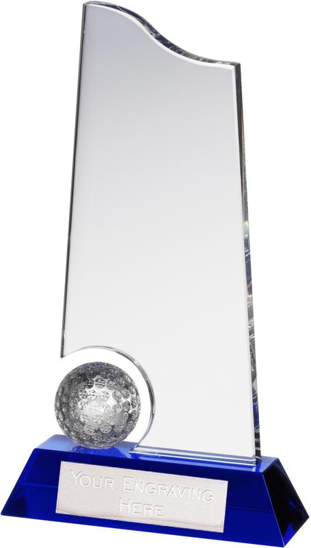 """Clear & Blue Crystal Golf Ball & Plaque Award 23cm (9"""")"""