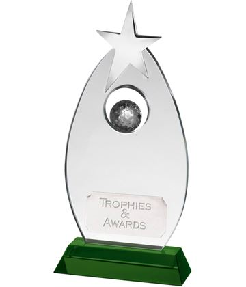 "Clear/Green Optical Crystal Golf Star Award 19cm (7.5"")"