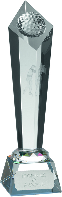 "Optical Crystal Golf Award with Golfing Image 34cm (13.5"")"
