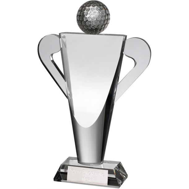 "Optical Crystal Abstract Golf Cup Award 26cm (10.25"")"