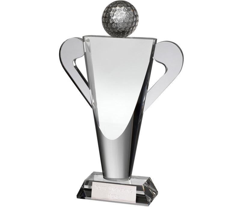 "Optical Crystal Abstract Golf Cup Award 22cm (8.75"")"