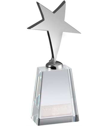 "Optical Crystal Metal Silver Star Award 18cm (7"")"